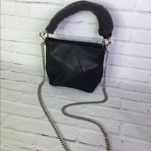 Steve Madden Black Faux Leather Fur Crossbody Bag